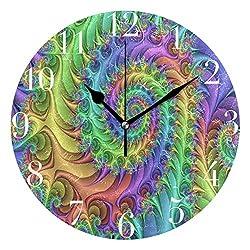 NMCEO Round Wall Clock Hippie Spiral Acrylic Original Clock for Home Decor Creative