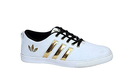 ff00d473d2838 Trane Shoes Perfect Stylish White Gold Sneaker Shoes for Men s - 9 ...