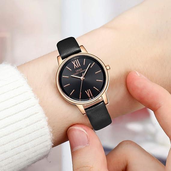 Amazon.com: Women Simple Face Watches Leather Band Luxury Quartz Watches Girls Ladies Wristwatch Reloj De Mujer (8662 Black): Watches