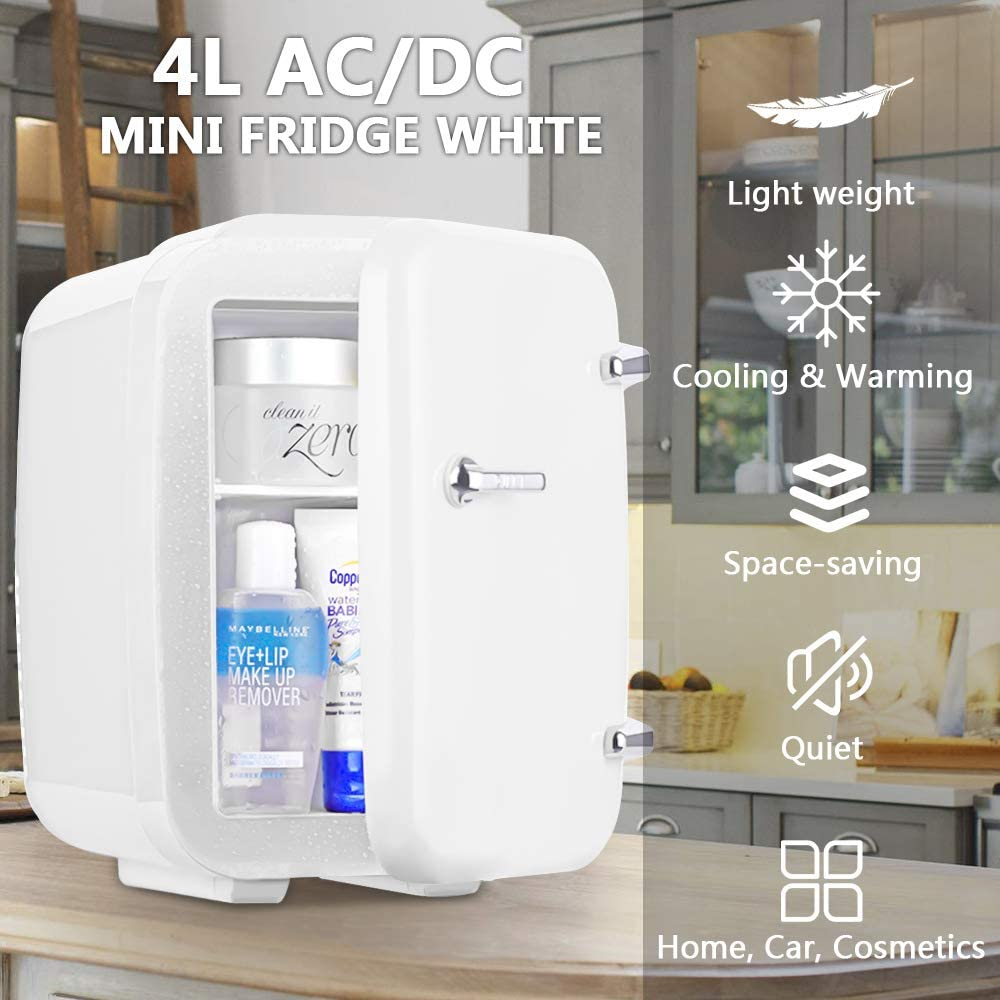 Novhome Mini Nevera 4 litros portatil ligero con funci/ón de Calentamiento Frigor/ífico peque/ña AC//DC 12V 45W Minibar Congelador para Cosm/éticos Oficina Car C/ámping Blanco