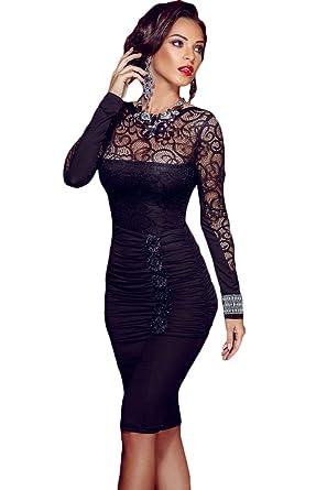 buy popular d9092 c4d32 emmarcon Mini Abito da Donna Cerimonia Pizzo Cocktail Dress Party Vestito  Vestitino Tubino Casual