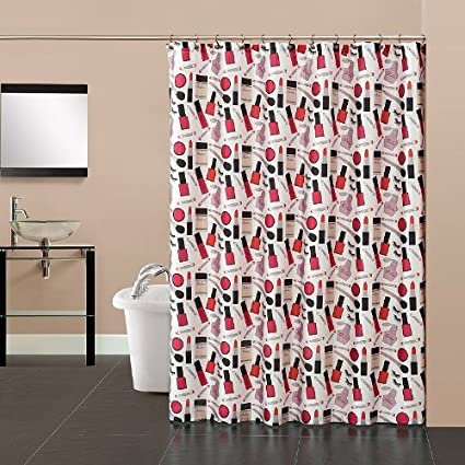 Pretty Girl Fabric Shower Curtain Pink Black Cosmetics Make Up