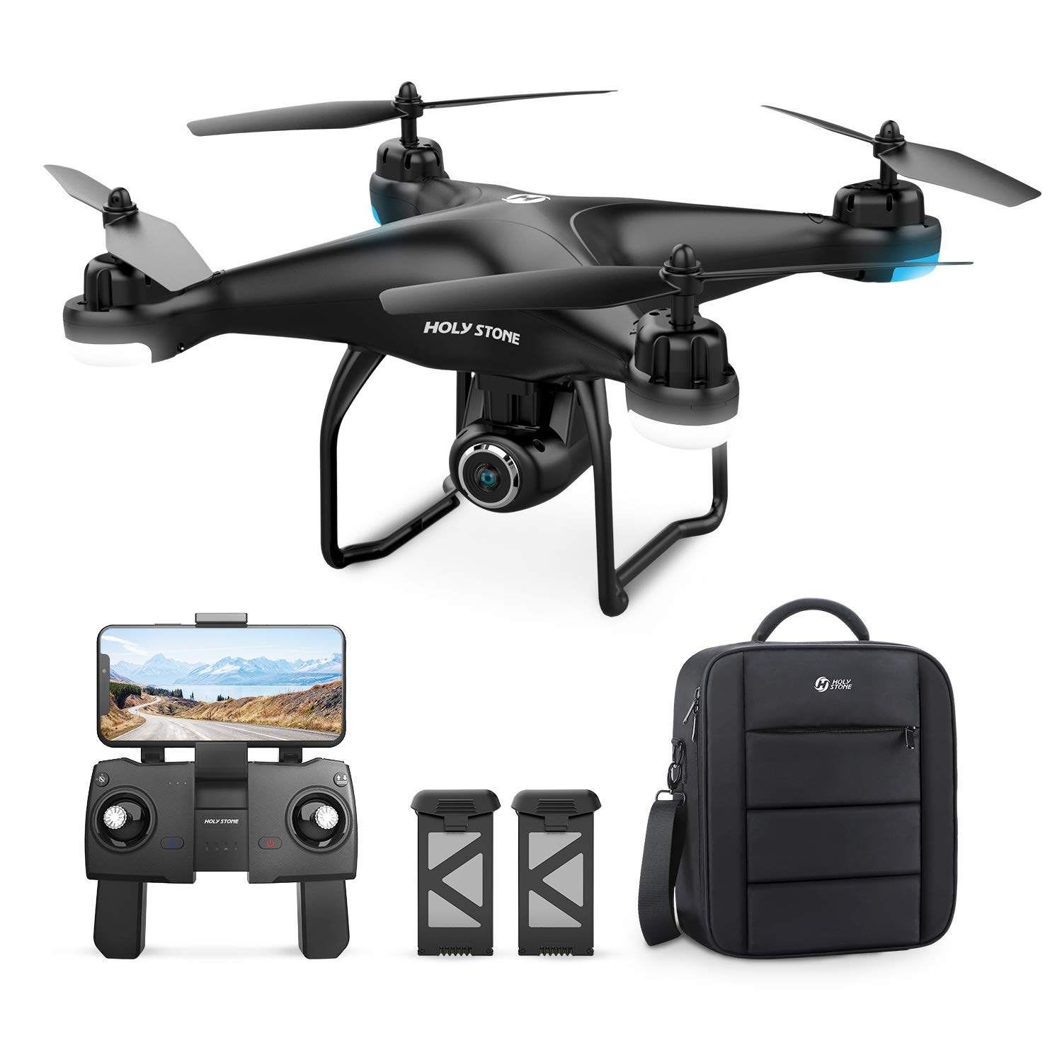 Holy Stone HS120D GPS Drone with Camera for Adults 1080p HD FPV, Quadcotper with Auto Return Home, Follow Me, Altitude Hold, Tap Fly Functions, Includes 2 Batteries and Carrying Backpack by Holy Stone