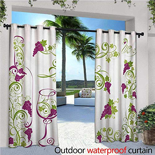 homehot Wine Indoor/Outdoor Single Panel Print Window Curtain Wine Bottle and Glass Grapevines Lettering with Swirled Branches Lines Silver Grommet Top Drape W72 x L84 Purple Lime Green White ()