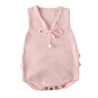4887d738c H.eternal Baby Girl Knitted Jumpsuit Onesies Pajamas Sleeveless ...