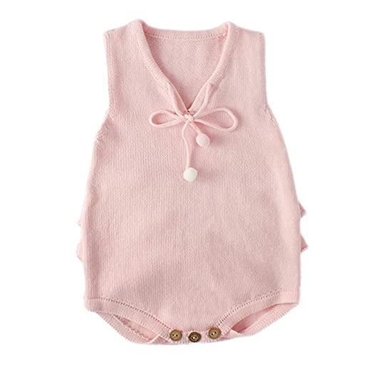 87f5b445fef TiTCool Newborn Baby Girls Boys Solid Knitting Romper Toddler Ruffles Lace  Up Knitted Jumpsuit Clothes (
