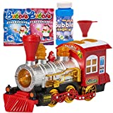 Prextex Bubble Bump 'n' Go Train with Lights Sounds and Action Includes 5 Ounce Bottle of Bubble Solution and 2 Packets of Bubble Concentrate Fun Toy for Kids