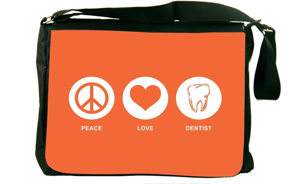 Rikki Knight Peace Love Dentist Orange Color Messenger Bag School Bag by Rikki Knight (Image #1)