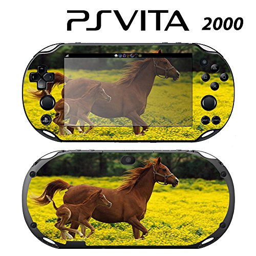 Decorative Video Game Skin Decal Cover Sticker for Sony PlayStation PS Vita Slim (PCH-2000) - Cute Baby Horse Running with Mom -  Decals Plus, PV2-AN27