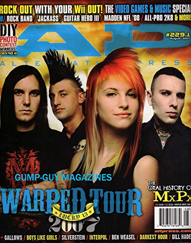 Alternative Press #229.1 AP August 2007 WARPED TOUR Lucky 13 ROCK OUT WITH OUR Wii OUT! VIDEO GAMES & MUSIC SPECIAL W/ROCK BAND, JACKASS, GUITAR HERO III, MADDEN NFL, ALL-PRO - Xiii Game Line Red