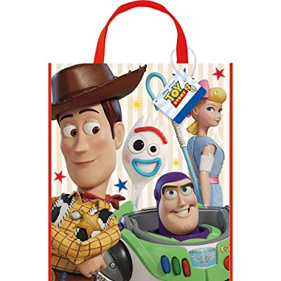 Unique Industries Disney Toy Story 4 Movie Plastic Tote Bag for Party Favor - 13 x 11 Inches - 1 Unit: Clothing
