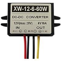 EBILUN convertidor de 12 V a 6 V DC de Bajada, 10 A 60 W DC Fuente de alimentación Adaptador regulador de Voltaje
