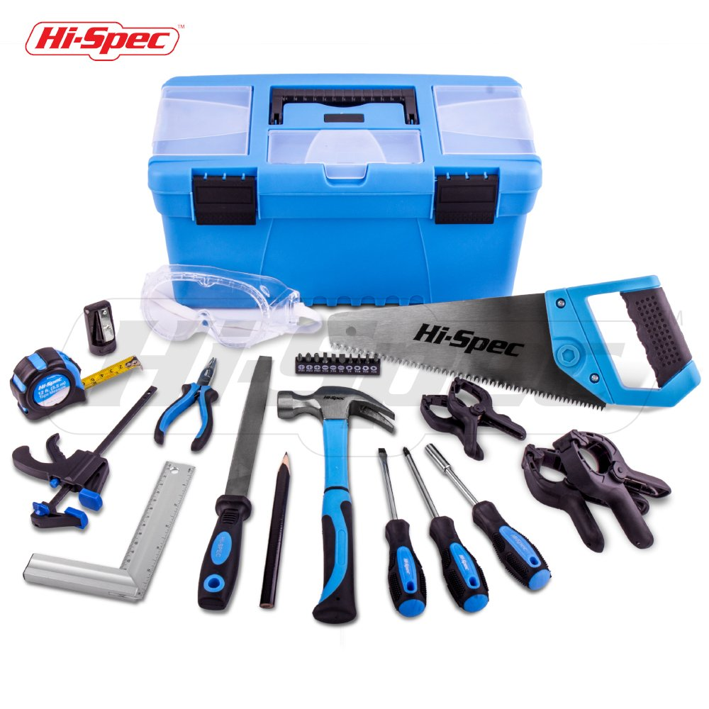Hi-Spec 28 pc Children's Tool Set and Storage Box with Real Hand Tools, Accessories and Eye Protection for Home DIY, Decorating and Woodworking in Convenient Storage Box(Blue)- Great Kid's Gift Idea by Hi-Spec