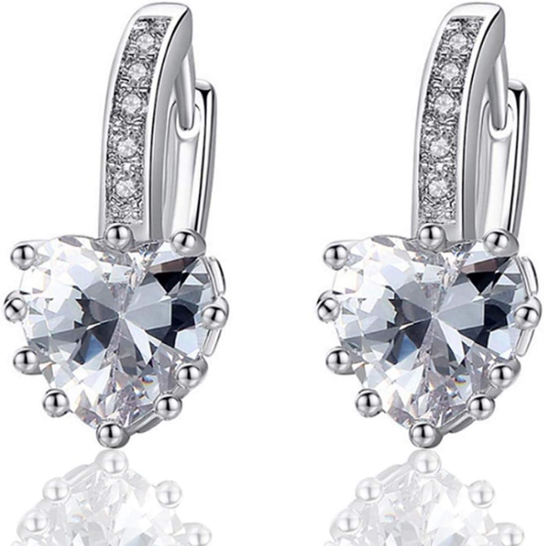 LEEQ Pendientes de Diamantes corazón de Plata 925 de Mujer con Encanto()