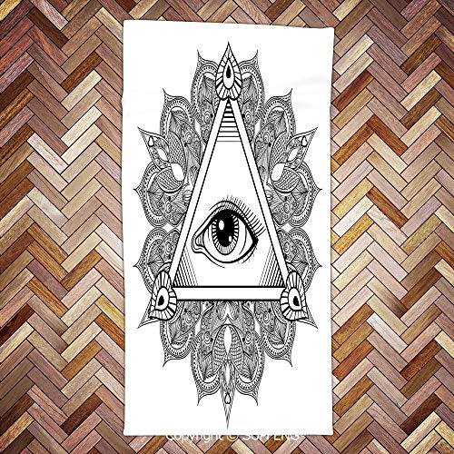 Sweat Towel Vintage All Seeing Eye Tattoo Symbol with Boho Mandala Providence Spirit Occultism for Bathroom, Hotel, Gym and Spa/3d Printing/Water Absorption/Multipurpose