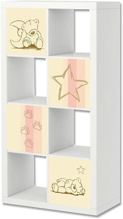 STIKKIPIX Teddy Cascarillo para Muebles | ER20 | Adhesivos adecuados para el Estante EXPEDIT/KALLAX de IKEA (Mueble no Incluido)