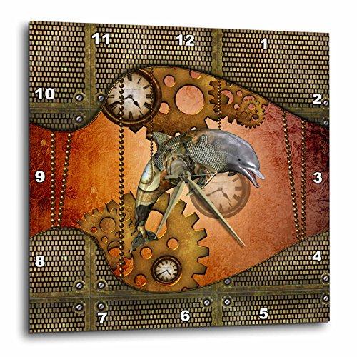 3dRose Heike Köhnen Design Steampunk – Steampunk, wonderful steampunk dolphin – Wall Clocks