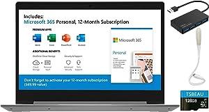 "Lenovo IdeaPad1 14"" Laptop, AMD A6-9220e, 4GB Memory, 64G eMMC, Windows 10 Home in S Mode, Microsoft Office 365 Include, , Bundled with TSBEAU USB LED Light &USB 3.0 Hub & 128GB Micro SD Card"
