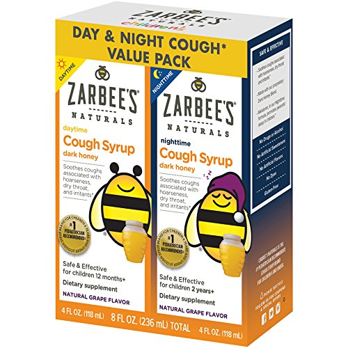 - Zarbee's Naturals Children's Cough Syrup with Dark Honey Daytime & Nighttime, Natural Grape Flavor, 4 Ounce Bottles (Value Pack of 2)