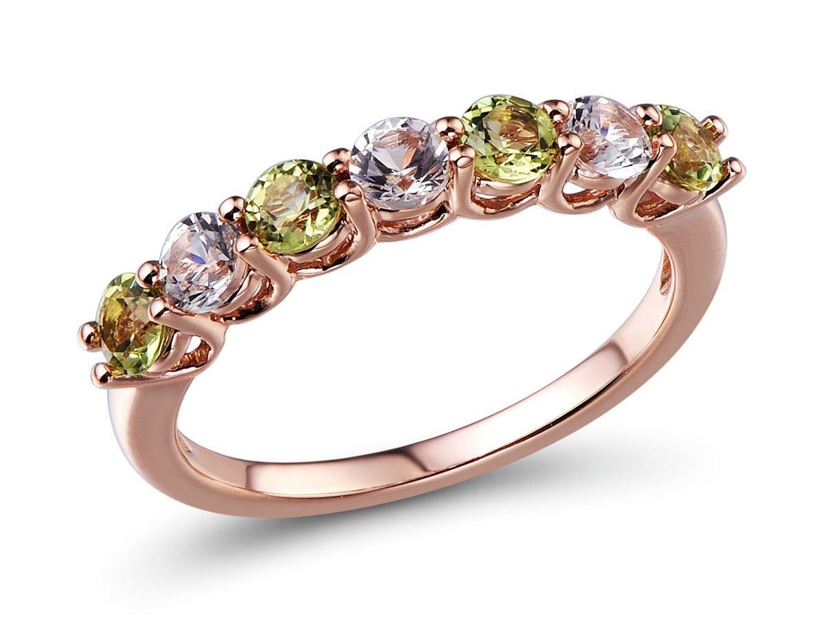 Lab Created White Sapphire and Peridot Ring in 10k Rose Gold