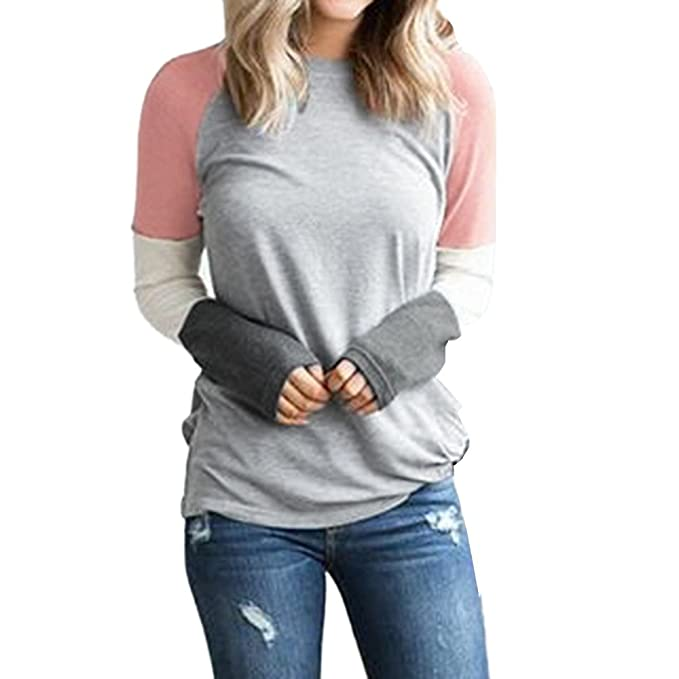 Kinlene Camiseta para Mujer-Verano Manga Larga Camisetas Mujer Patche Color Camisas de Mujer Camisas Casual Blusas Tops T-Shirt 2018 Oferta: Amazon.es: Ropa ...