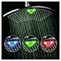 """DreamSpa 1489 AquaFan 12 inch All-Chrome Rainfall Shower-Head with Color-Changing LED/LCD Temperature Display, 12"""""""