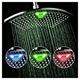 cool looking shower heads DreamSpa AquaFan 12 inch All-Chrome Rainfall-LED-Shower-Head with Color-Changing LED/LCD Temperature Display