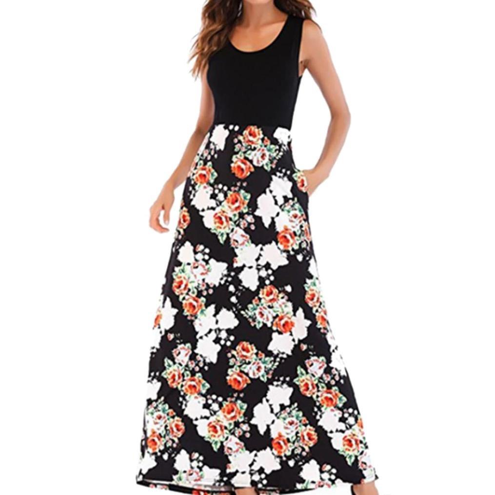 ❤ Vestido Largo Boho Mujeres, Las señoras de Las Mujeres sin Mangas Cuello Redondo impresión Verano Casual Boho Maxi Absolute: Amazon.es: Ropa y ...