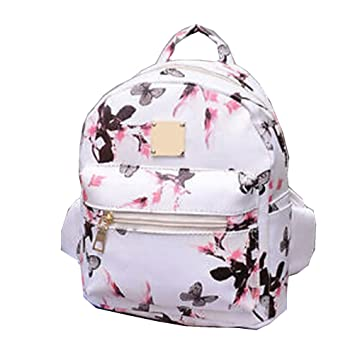 Amazon.com   Women Girls Mini Backpack Causal Floral Printing Leather Bag  (White)   Casual Daypacks ebb5374bf1