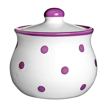 Handmade Purple and White Polka Dot Ceramic Sugar Bowl Jam Jar Pot With Lid Housewarming Gift by City to Cottage Pottery Honey Jar
