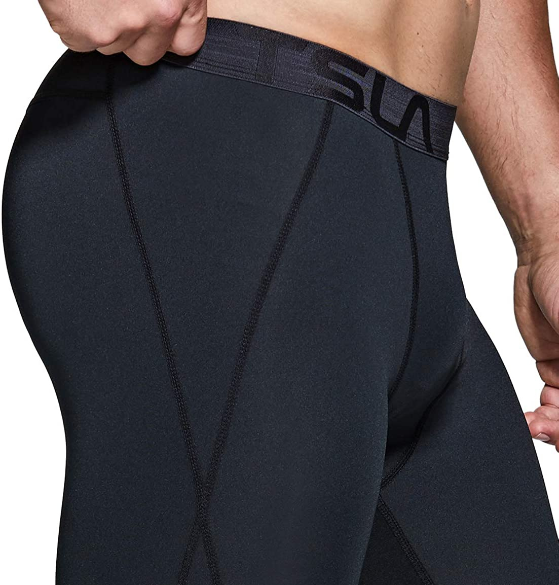 Cool Dry Capri Athletic Leggings TSLA 1 or 2 Pack Mens 3//4 Compression Pants Yoga Gym Base Layer Running Workout Tights
