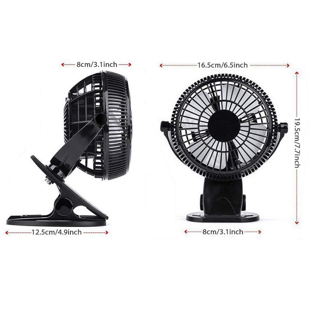 Silencieux et Robuste Vent r/églable /à 360 /° Volwco Ventilateur /à Clipser Ventilateur Personnel Portable Clip Personnel ou Ventilateur de Bureau avec 3 Vitesses Blanc Rechargeable /à Piles