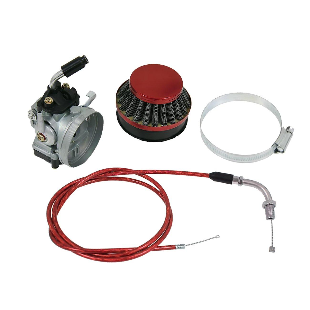 NORTHTIGER Carburetor & Red Air Filter & Red Throttle Line Fit 49/60/66/80cc Motorized Bike