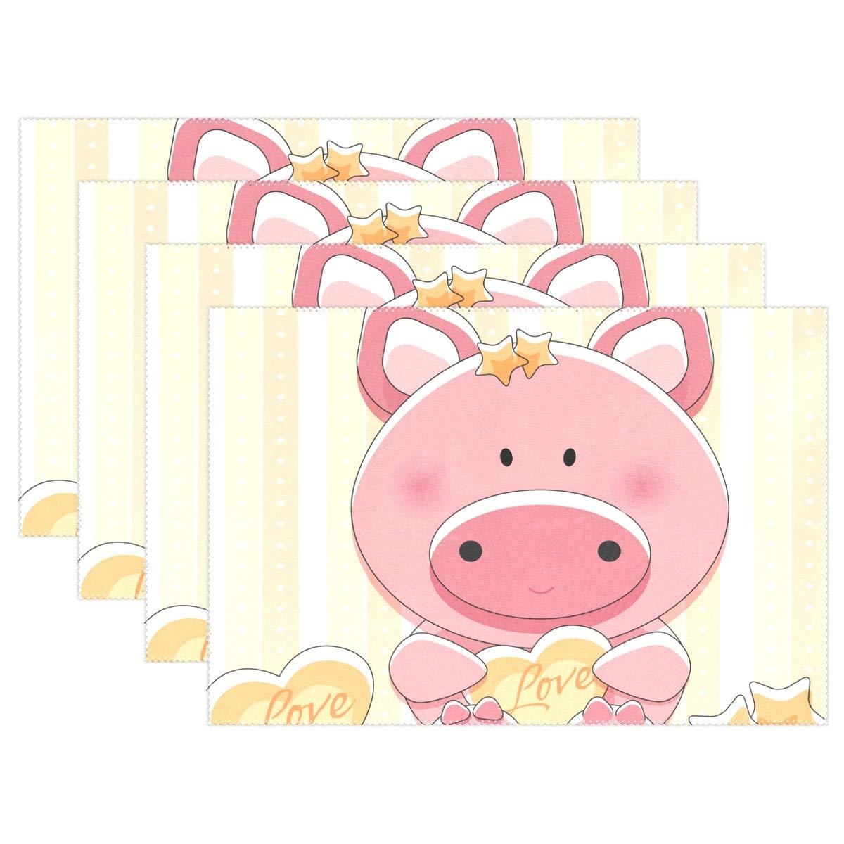 MUMIMI Hitzebeständige Platzsets, 6 Stück, schöne Schweinchen mit Herzdruck, waschbare Stoff-Tischmatten für Esszimmer, Küche, Tischdekoration
