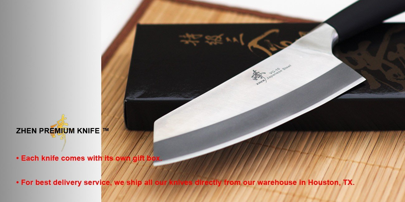Amazon ZHEN Japanese VG 10 3 Layer Forged High Carbon Stainless Steel Light Vegetable Chopping Chef Knife Cleaver 7 Inch TPR Handle Wusthof Classic