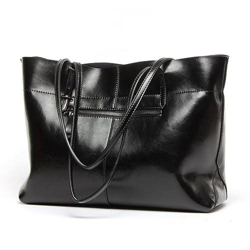 7d40861aa955 Panlom® Women s Vintage Genuine Leather Tote Shoulder Bag Handbag (Black)