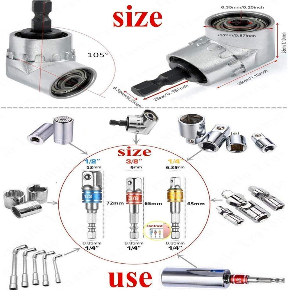 Impact Grade Socket Wrench Adapter Extension Set+Right Angle Drill,105 Degree Right Angle Driver Extension Screwdriver Drill Attachment,3Pcs 1//4 3//8 1//2 Hex Shank Drill Nut Driver Bit Set