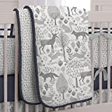 Carousel Designs Navy and Gray Woodland Crib Comforter