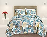 Great Bay Home 3 Piece Quilt Set with Shams. Soft All-Season Microfiber Bedspread in Stitched in Attractive Patterns. Machine Washable. The Blue Hill Collection By Brand. (Full/Queen)