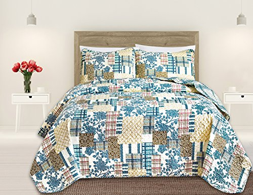 Great Bay Home 3 Piece Quilt Set with Shams. Soft All-Season Microfiber Bedspread in Stitched in Attractive Patterns. Machine Washable. The Blue Hill Collection Brand. ()