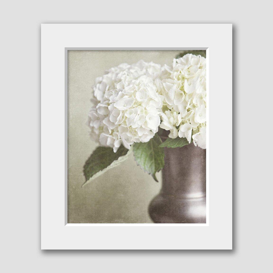 Botanical Hydrangea Matted 8x10 Print (fits 11x14 Frame). Shabby Chic Neutral Home Decor.