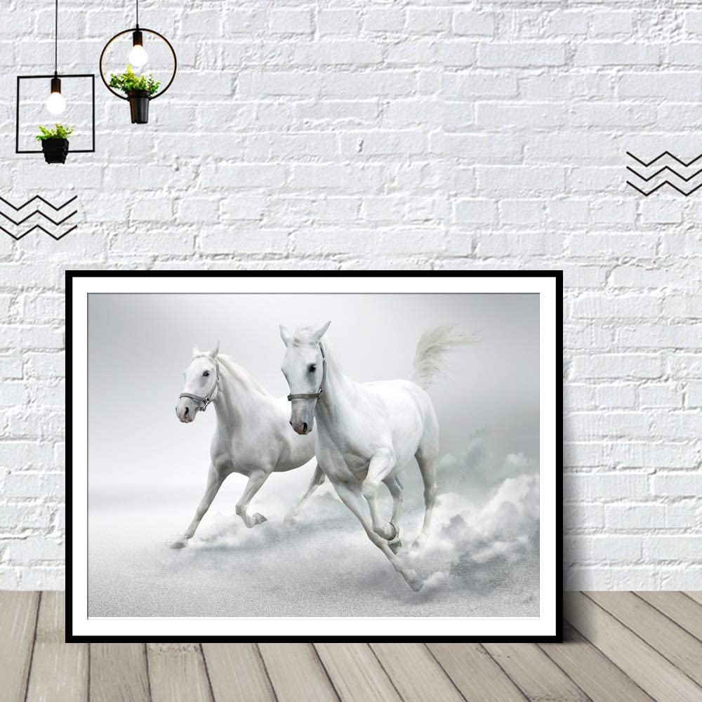 PinturaAlÓleoPorNúmeros Pintura digital de Caballo salvaje blanco impresión del arte de los carteles y el arte animal Fotografía impresiones de la lona Pintura cuadros de la pared for sala de esta