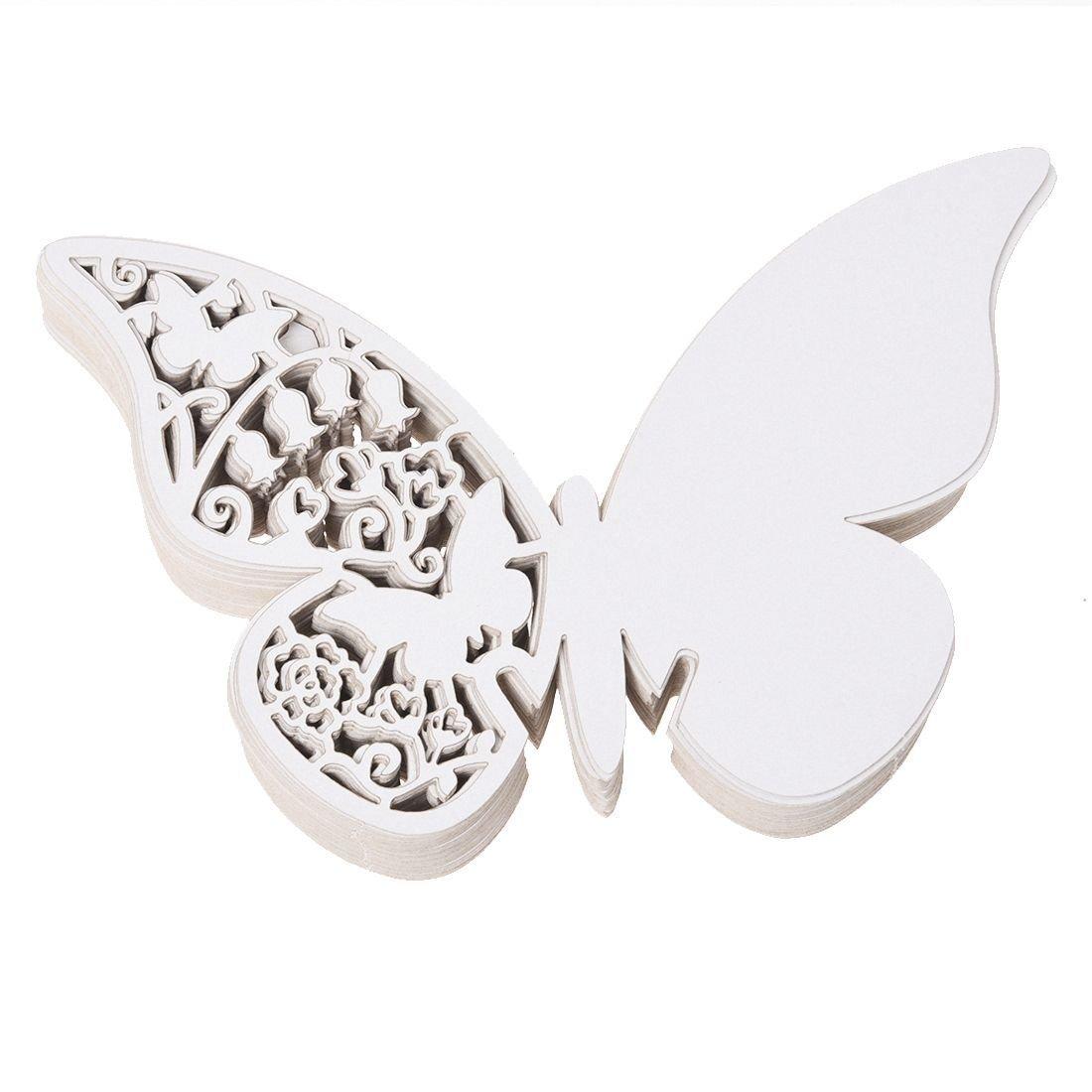 SODIAL(R) 50pcs Carte Nom Marque Place Papillon en Papier BLANC Deco Verre Gateau Mariage TRTA11A