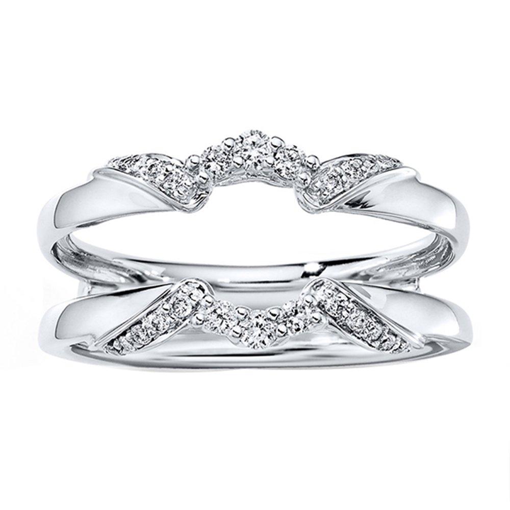 Simulated Lab Created Diamond Engagement Wedding Jacket Ring Guard Wrap Enhancer 1/5 ct 14k White Gold Plated 5.5