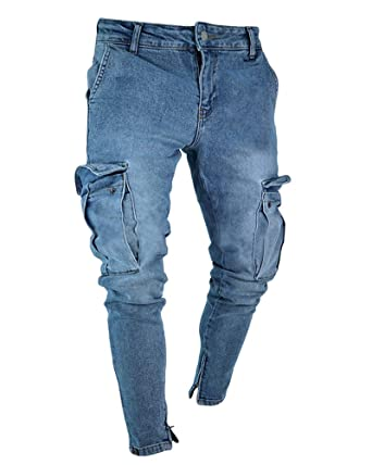 authentic quality latest fashion sleek PengGengA Homme Jeans Skinny Style Cargo Rétro Slim Trousers Jeans d'homme  Jeans