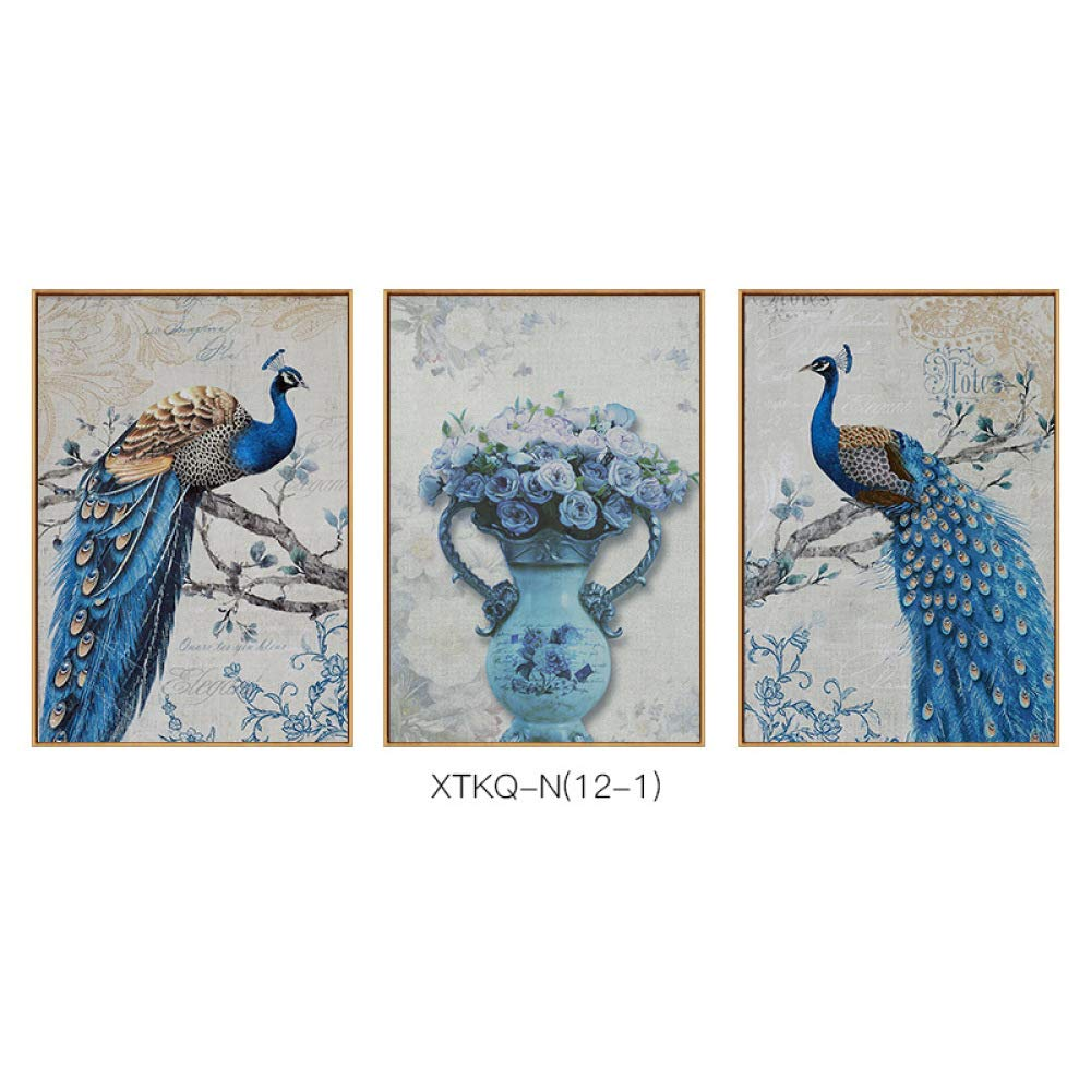 DEED Peacock Series Retro Nostalgic Decorative Painting, Lucky Style Hanging Painting, Living Room Porch Hotel Office Wall Decoration,A,3040cm by DEED
