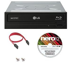 LG WH14NS40 16X Blu-ray BDXL DVD CD Internal Burner Drive Bundle with Free Nero Burning Software + SATA Cable + Mounting Screws