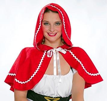 Rotkappchen Umhang Schulterlang Rot Damen Kostum Zubehor Karneval