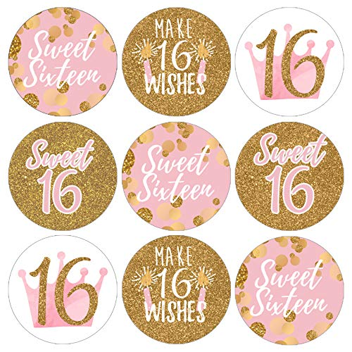 Pink and Gold 16th Birthday | Sweet Sixteen Party Favor Labels | 180 Stickers]()