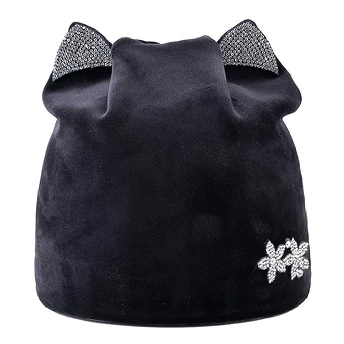 HYID Women Winter hat with Ear Cute caps Women Beanie Hats Rhinestone Casquette Femme Knit Beanies